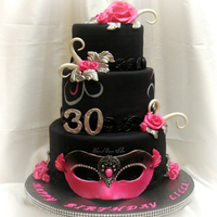 Masquerade Birthday complete with fondant mask, modeling chocolate roses & hand painted detail