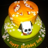 Hippy Cake A cake i made for a girl who loves vw campervans, daisies....and is a bit of a hippy :)