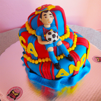 Fc Barca We made this cake for my brother, he likes soccer team FC Barca. So the colors of the cake had to be blue and red with yellow motifs. The...