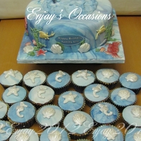 Sea Theme Birthday Cake A 10ins sponge cake, with matching cupcakes