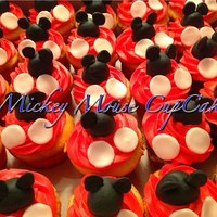 Mickey Mouse Cupcakes Mickey Mouse cupcakes with red Vanilla Buttercream with fondant toppers!Visit www.mzcreativecakes.com