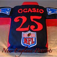 New England Patriots Jesey Cake New England Patriots Jersey Birthday Cake, With person's age and last name.