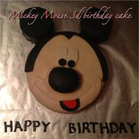 Mickey Mouse 3D Birthday Cake This cake was a marbled cake designed and covered with homemade fondant! Visit www.mzcreativecakes.com