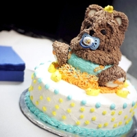 A Baby Bear To Welcome A Baby Boy!  I made this baby bear cake for a co-worker's baby shower. I've only been taking cake decorating classes for two months and this...