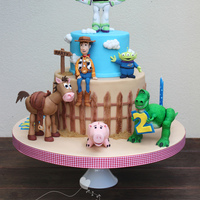 Lots Of Love And A Steep Learning Curve For This Toy Story Cake My First Standing Animals On 4 Legs And Hind Legs All Figures Are Gumpast  Lots of love and a steep learning curve for this Toy Story cake. My first standing animals on 4 legs and hind legs!! All figures are...