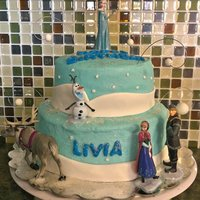 Disney Frozen Birthday Cake Made for my daughter's birthday. Blue velvet cake with buttercream frosting and mms details.