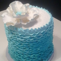 Blue Buttercream Ruffled Birthday Cake Ombre Blue Ruffle Birthday Cake with Gumpaste Fantasy Flower