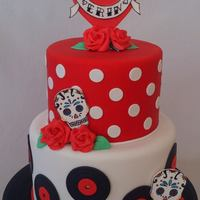 Rockabilly Themed Cake With Sugar Skulls! Made for someone who loves hearts, banners, birds, sugar skulls, records and polka dots!