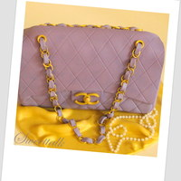 Chanel Purse Cake, Chanel Classic Flap Bag Cake, Designer Handbag Cake Chanel Cake, Chanel Purse Cake, Chanel Handbag Cake, Chanel Classic Flap Bag Cake, Purple Chanel Purse Cake, Designer Handbag Cake, 3D...