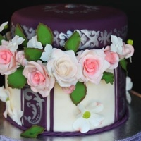 25Th Wedding Anniversary Cake Make With Edible Flowers 25th Wedding Anniversary cake make with edible flowers.