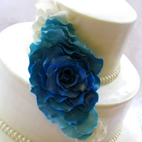 Cascading Rose Petal Wedding Cake In Blue Turquoise And Teal Tones   Cascading rose petal wedding cake in blue, turquoise and teal tones.