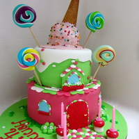 Candy House Cake With Ice Cream On Top.