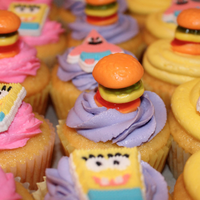 Girly Spongebob Cupcakes With Krabby Patties Girly Spongebob Cupcakes with Krabby Patties!