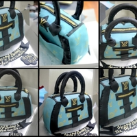 Lv Bag Cake! Dark chocolate cake with ganache layered and carved cake!
