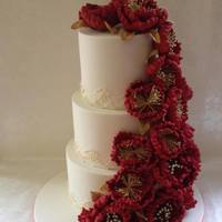 Gorgeous Red, White And Gold Wedding Cake *