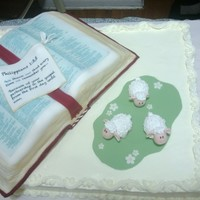 Cake For Pastor Appreciation Both Cakes Are Wasc Main Cake Is Filled And Covered With Smbc While The Book Is Bc And Fondant Cake for Pastor appreciation. Both cakes are WASC. Main cake is filled and covered with SMBC while the book is bc and fondant.