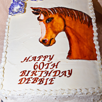 Hand Painted Horse Head Birthday Cake 60th birthday slab cake with fantasy flowers and a fondant horse that was handpainted using food colors of course. This was a lot of fun to...
