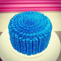 Blue Ruffle Buttercream Birthday Cake   Blue Ruffle Buttercream Birthday Cake