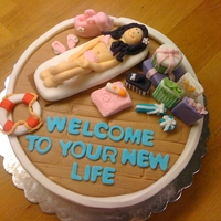 Welcome To Your New Life Surprise cake for a girl's new job