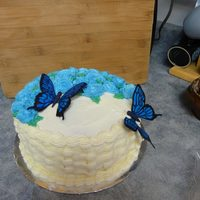 Basket Weave Cake With Blue Butter Cream Roses And Hand Painted Gum Paste Butterflies Basket weave cake with blue butter cream roses and hand painted gum paste butterflies