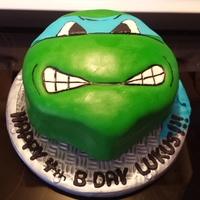 Ninja Turtleleonardo Carved Chocolate Cake Covered With Fondant Ninja Turtle/Leonardo carved chocolate cake covered with fondant