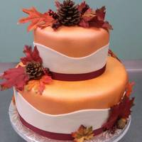 "Fall In Love Was The Theme For This Bridal Shower Cake Colors Were Copper Burgundy And White ""Fall in Love"" was the theme for this bridal shower cake. Colors were copper, burgundy, and white."