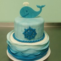 Nautical Baby Shower Cake With Ombre Waves Nautical baby shower cake with ombre waves.