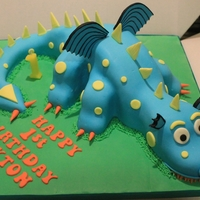 Dragon/dinosaur Birthday Cake Dragon Birthday Cake with Jam and Buttercream filled Victoria Sponge. Cut...shaped....and carved then covered with sugarpaste/fondant and...