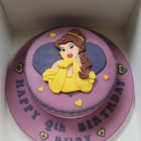 Disney's Belle Birthday Cake Disney's Belle Birthday Cake, Jame and Buttercream filled Victoria Sponge covered in sugarpaste/fondant.