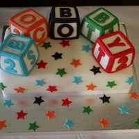 Alphabet Block Christening Cake Alphabet Block Christening Cake with Jam and Buttercream Filled Victoria Sponge Cake.Solid Sugarpaste/fondant Blocks.