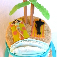 Beach Theme Cake Beach Theme birthday cake. The birthday girl specifically wanted to have the cake show her & her dog sunbathing.