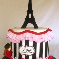 Paris-Themed Cake This cake was made for an 11-year old's birthday. Mom said she was into art, so I had her figurine painting her name on the sign....