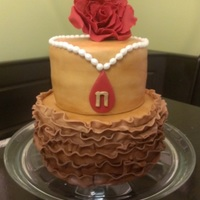 Top Tier Is Hand Painted For A Variegated Ochre Effect Bottom Tier Is Ombre Ruffles In Shades Of Chocolate Brown Top tier is hand-painted for a variegated ochre effect. Bottom tier is ombre ruffles in shades of chocolate brown.