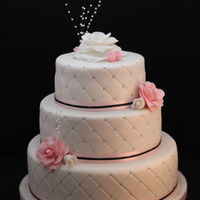 Baby Pink, White & Black Themed Wedding Cake