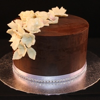 Chocolate Cake Using Ganache This was my first attempt at using the upside down method to achieve sharp edges on a cake with ganache. It was also my first try at white...