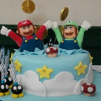 Made This Cake For My Son And Nephews Joint Party Who Are Mario Mad All Is Edible Expect Wrapper On Coins   Made this cake for my son and nephew's joint party, who are Mario mad. All is edible (expect wrapper on coins).