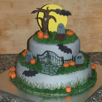 This Is The Halloween Graveyard Cake That I Made It Is A Chocolate Cake With Vanilla Buttercream Covered In Fondant I Did Some Painting  This is the Halloween Graveyard cake that I made. It is a chocolate cake with vanilla buttercream covered in fondant. I did some painting...