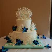 "My First Wedding Cake This Beach Themed Cake Has A 10 Bottom Tier That Is Chocolate Cake With Vanilla Buttercream The Top 6 Tier Is Pin  My first wedding cake! This beach themed cake has a 10"" bottom tier that is chocolate cake with vanilla buttercream. The top 6""..."