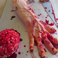 Severed Arm Cake With Brain