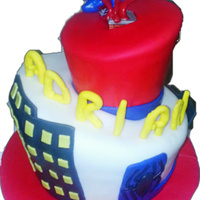 Childrens Cakes Spiderman topsy turvy