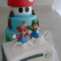 Super Mario Bros And Xbox 360 Cake Super Mario Bros. and Xbox 360 cake