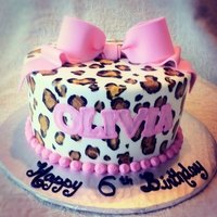 Leopard Print Covered in MM fondant, leopard print was painted on.