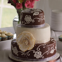 Dessert By Design Wedding Cakes Brush Embroidery chocolate and ivory
