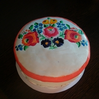 Cake Decorated With Hungarian Flower Patterns