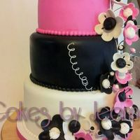 Pink White And Black Quinseanera Cake Pink, White and Black Quinseanera Cake