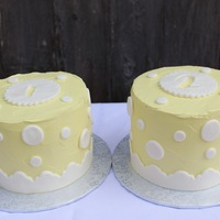 Baby Cakes 2 (Gender Reveal)   One pink and one blue cake (marked 1 and 2). Buttercream with MMF.