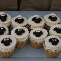 Skylanders Sheep Cupcakes   Vanilla cupcakes with vanilla Swiss meringue buttercream and hardened MMF toppers.