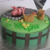 60Th Birthday Cake (Pig And Chickens) Marzipan model Pig and fondant chickens