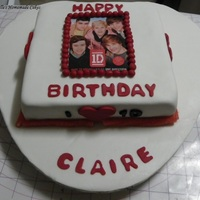 One Direction Cake I Contacted The Picture And Used Fondant Balls To Cover The Edge One direction cake I contacted the picture and used fondant balls to cover the edge