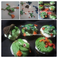 Tree Frog Cupcakes Tree and Dart Frog Cupcakes